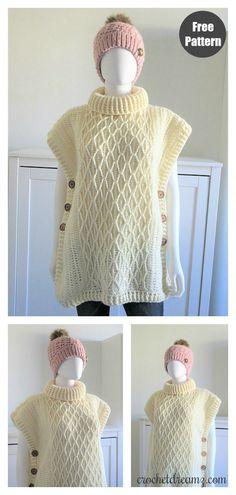 Faux Cable Poncho Free Crochet Pattern – Knitting For Beginners Crochet Slouchy Beanie Pattern, Crochet Jumper Pattern, Crochet Poncho Patterns, Crochet Coat, Crochet Shawls And Wraps, Crochet Yarn, Free Crochet, Knitting Patterns, Kids Poncho Pattern
