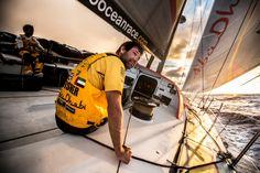 "April, 2015. Leg 6 Newport onboard Abu Dhabi Ocean Racing. Day 4.  Simon ""SiFi"" Fisher checks behind on Alvimedica at daybreak on the way to Newport Matt Knighton / Abu Dhabi Ocean Racing / Volvo Ocean Race"