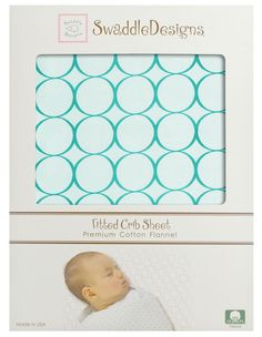 "Swaddle Designs ""SeaCrystal with Turquoise Mod Circles"" Fitted Flannel Crib Sheet"