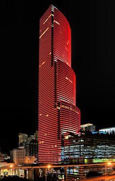 Miami Tower, 100 Southeast Street, Miami, Florida, U. South Beach Florida, Miami Florida, Miami Beach, Night Aesthetic, City Aesthetic, Home Office, Facade Lighting, Downtown Miami, Beautiful Architecture