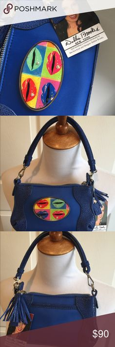 """NWT Debbie Brooks Handbag Blue Tiny shoulder blue bag Andy Warhol lips Italian Leather with sting ray emboss Can be wrist bag or 38"""" Shoulder strap  Artwork attached magnets n can be changed  8 x 4.5 x 1 Debbie Brooks Bags Crossbody Bags"""