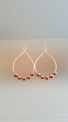 Copper Bead Earrings Silver Wire Non Tarnish Wire by LGBStyles