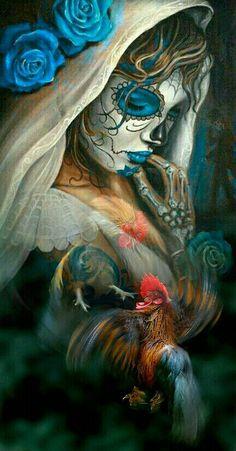 Beautiful colors. Day Of The Dead Girl, Day Of The Dead Skull, Chicano Art Tattoos, Body Art Tattoos, Tatoos, Princesas Disney Dark, Arte Cholo, Catrina Tattoo, Sugar Skull Art