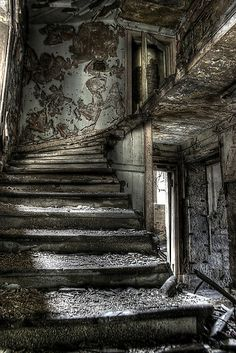 abandoned wood stairs