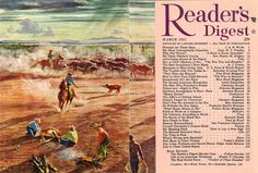 """Reader's Digest front and back cover, March 1951 / Illustration: """"America at Work: Cattle Raising"""" byPeter Hurd"""