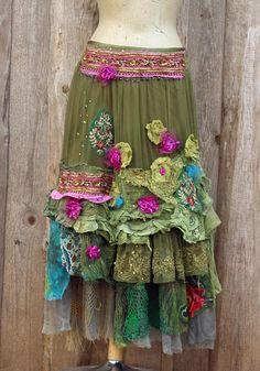 Spring fiesta  skirt   romantic  gypsy hippy shabby chic