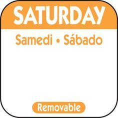 """Saturday 1"""" Square Removable Label - Orange"""