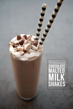 Bittersweet Chocolate Malted Milkshakes by Shutterbean Malt Milkshake, Chocolate Milkshake, Milkshakes, Yummy Drinks, Delicious Desserts, Dessert Recipes, Drink Recipes, Fun Drinks, Cocktail Recipes