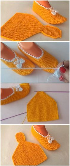 Easy Crochet Patterns Easy To Make Booties - Crochet/Knit - There are many booties, but it is easiest and beautiful booties to make. You can make them with the your preferred technique. Crochet it or knit it – it doesn't matter that much. Love Crochet, Beautiful Crochet, Easy Crochet, Knit Crochet, Knitting Socks, Loom Knitting, Knitting Patterns, Crochet Patterns, Easy Patterns