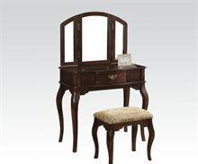 Cherry Finish Vanity & White Stool White Stool, Vanity Stool, Cherry Finish, Table, Furniture, Home Decor, Decoration Home, Room Decor, Tables