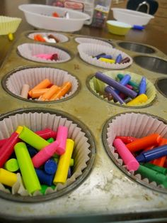 Rainbow Crayons...This was our craft today. My thumb nails are slightly curled back now, but worth it for the quiet time while peeling and the fun results.