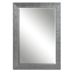 """Boutique 42"""" Textured Silver Wall Mirror. Size: 41.875''L X 29.875''W X 0.875'' Deep • Weight: 41 LBS • Glass Dimensions: 36''H X 24''W X 0.157'' Deep. Material: Premium Compressed Hardwood. Color/Finish: Silver Finish With A Light Gray Glaze. Heirloom Quality - Expertly hand crafted and hand finished. Frame Has A Textured, Silver Finish With A Light Gray Glaze. Mirror Is Beveled. May Be Hung Horizontal Or Vertical."""