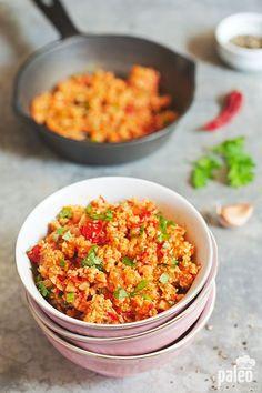 Spicy Mexican Cauliflower Rice - sub veg broth/stock to make #vegan (oil, onion, garlic, tomato, chili pepper, crushed red pepper, cumin, oregano, cilantro, lime)