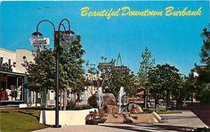 Postcard Downtown Pedestrian Mall, Burbank, California - circa 1970s
