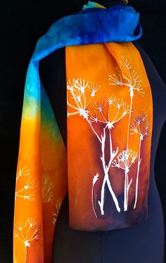 Vibrant silk scarf in shades of browns by FantasticPheasant, $35.00