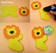 Crafts,Actvities and Worksheets for Preschool,Toddler and Kindergarten.Lots of worksheets and coloring pages. Kids Crafts, Foam Crafts, Diy And Crafts, Alphabet Crafts, Letter A Crafts, Lollipop Craft, Lion Craft, Diy Pencil Case, Diy Y Manualidades