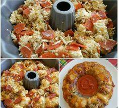 2 cans of pilsbury pizza dough and whatever else you like to taste in a pizza. Put it in a bundt pan! Pull apart bread for parties!!