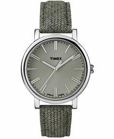 Timex Watch, Women's Premium Originals Sage Green Leather Strap 38mm T2P174AB - Women's Watches - Jewelry & Watches - Macy's