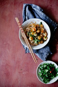 Soba Noodles with Scallops in Wine Sauce   Playful Cooking