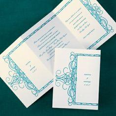 A framed flourish design is shown throughout this tri-fold invitation. Spanish Wedding Invitations, Beautiful Wedding Invitations, Invites, Endless Love, Flourish, Free Spirit, Wedding Ideas, Weddings, March