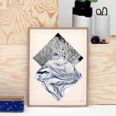 Sheets Print: The sheets print is a limited edition of 200 beautiful prints, by the very talented artist Kristina Krough.    - Marbled prints against the soft pastel pink  - Printed on 190 gram textured Hahnemuhle paper - Unframed