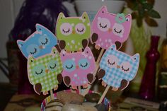 Country Chic Owl CupCake Toppers set (12)
