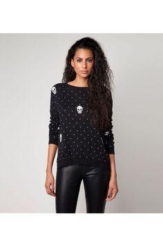 $31.99 Skull Charm Wave Point Long Sleeve Sweater @MayKool