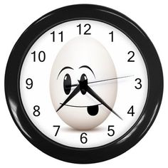 Silly Egg Face Plastic Black Frame Battery Operated Novelty Kitchen Wall Clock #CustomMade #Novelty #clock