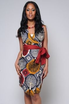 Elegant African Print Dress, Wrap with Mulberry Sash Belt. Available from http://sapelle.com