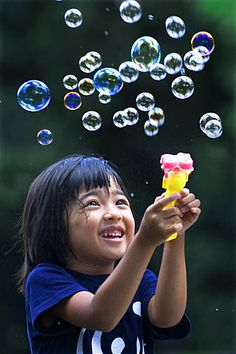 Happy Moment by Kyaw Kyaw Winn Precious Children, Beautiful Children, Beautiful Smile, Reflection And Refraction, Bubble Fun, Friends Laughing, Blowing Bubbles, Take Better Photos, We Are The World