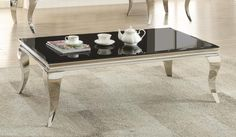 705018 Wildon chrome finish and beveled black glass top coffee table Modern Black Coffee Table, Contemporary Coffee Table, Modern Table, Contemporary Decor, Large Home Office Furniture, Home Decor Furniture, Home Furnishings, Accent Furniture, Coffee Table Length