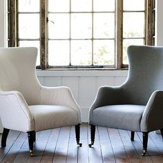 Bromley Wingback Chair, Grey Ticking Stripe