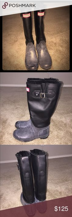 Auth Hunter Leather & Shearling Weatherproof Boots Hunter Leather & Shearling Lined Waterproof Weatherproof boots Like new sold out style 100% Authentic Gently used condition only wore once sold out style size EU39 Men's 7 Women's 8 retailed for $350 color is black better price on Ⓜ️ Hunter Boots Shoes Winter & Rain Boots