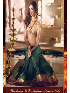 Deepika Padukone Green & Off White Semi Silk Bollywood Lehenga Choli