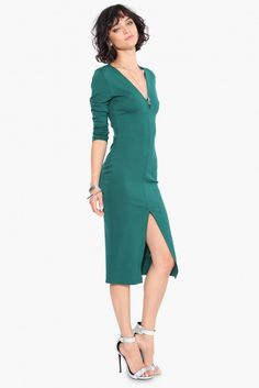 #GirlBoss Midi Dress in Green | Necessary Clothing