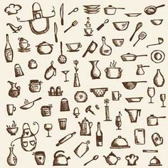 Kitchen Tools Drawings many different dishes and kitchen objects, vector - stock vector