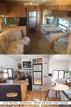Tour this Modern RV Remodel filled with Scandinavian Coziness from Detach and Roam! Featured on Caravan Makeover, Camper Makeover, Rv Redo, Rv Homes, Travel Trailer Remodel, Trailer Decor, Camper Renovation, Rv Interior Remodel, Rv Kitchen Remodel