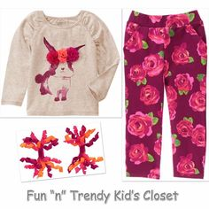 NWT Crazy 8 Girls Size 4T 5T Bunny Tee Shirt Top Terry Pants Hair Clips 3-PC SET #Crazy8 #Everyday