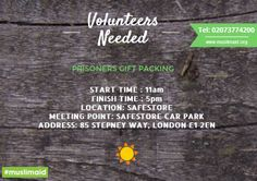 We would like to inform you of our upcoming Prisoners Gift Packing which is due to be held this weekend (Saturday 31st May & Sunday 1st June)  If you have time to spare to help the Muslim Aid team then please find details of the day listed below.  Please can you email us at volunteers@muslimaid.org to confirm which day(s) you will be attending. Thank you!  #MakeADifference