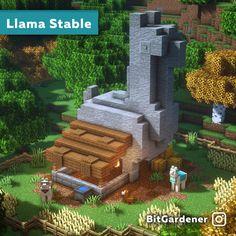 I made a llama statue - Minecraft Casa Medieval Minecraft, Minecraft Statues, Minecraft Farm, Minecraft Cottage, Minecraft Structures, Cute Minecraft Houses, Minecraft Plans, Minecraft House Designs, Amazing Minecraft
