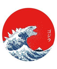 The astonishing power of Godzilla, celebrated through a reinterpretation of The Great Wave Off Kanagawa by Hokusai.