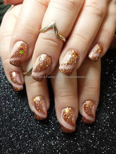 Nude gel with glitter nail art