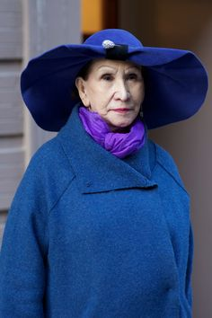 """""""((ADVANCED STYLE))""""  Oh what a powerful face and spirit....combined with this potent blue and spunky hat....This is the beauty of gathered years......NO to yearning for your youth....embrace your  years...both the good and not so good...."""