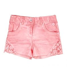 Stretch twill shorts with cutout flower detail in pink Twill Children's, toddler girls – 2019 - FASHION Hipster Girl Fashion, Little Girl Fashion, Kids Fashion, Toddler Outfits, Kids Outfits, Toddler Girls, Pink Lace Shorts, Short Niña, Sewing Shorts