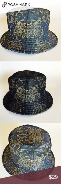 NWT UNISEX TRUE RELIGION SIGNATURE BUCKET HAT CAP BRAND NEW UNISEX TRUE RELIGION SIGNATURE BUCKET HAT CAP. 100% AUTHENTIC TRUE RELIGION MERCHANDISE. COLOR:BLACK/GOLD STYLE:TR1971 SIZE: L/XL MSRP: $85.00 + TAX  DETAILS: •BUCKET HAT FEATURING MATTE-FINISHED GOLD PRINT AND CHANNEL-STITCHING BRIM •GOLD STITCHING AND SKULL PATTERN •65% COTTON 33% POLYESTER 2% SPANDEX •IMPORTED •HAND WASH True Religion Accessories Hats