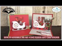 Karen Burniston shows how to assemble the Sleigh Gift Card Holder pop-up die by Karen Burniston for Elizabeth Craft Designs. - Video Tutorial: Pop it Ups #1042 - Sleigh Gift Card Holder
