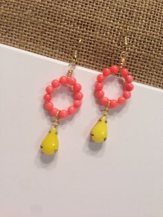 Items similar to handmade beaded earrings, coral and yellow beaded earrings, beaded jewelry, dangle earrings, bright earrings on Etsy Beaded Earrings, Beaded Jewelry, Drop Earrings, Handcrafted Jewelry, Unique Jewelry, Simple Earrings, Beading, Dangles, Coral