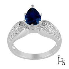 18K WhiteGold 2.25 CT G - H & VS Round Diamond & Pear Sapphire Engagement Ring #WomensClassicGemstoneRingJewelryhotspot