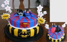 Superman & Batman Birthday Cake