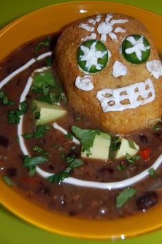 Dia de los Muertos Vegan Meal – Cornbread sugar skulls and black bean soup.